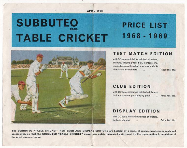 Price List Cricket : 1968/69