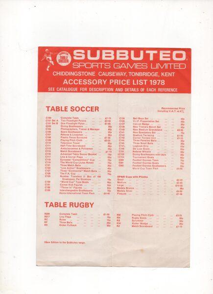 Price List : 1978